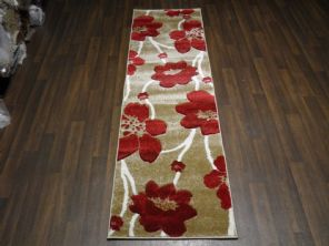 Modern Runner 60x220cm Aprox 8ft Hand Carved Super Quality poppy Beige/Red rugs